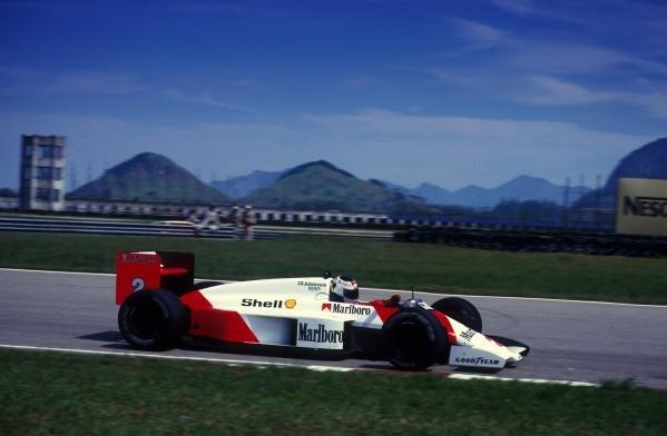 Stefan Johansson (SUE), McLaren MP4/3, 3rd place. Brazilian Grand Prix, Rio de Janeiro, 12 April 1987
