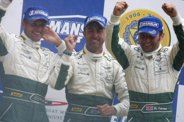 L-R GT1 winners Rickard Rydell (SWE) / David Brabham (AUS) /Darren Turner (GBR) Aston Martin Racing. Le Mans 24 Hours, Circuit du Sarthe, France, 16 -17 June 2007  DIGITAL IMAGE