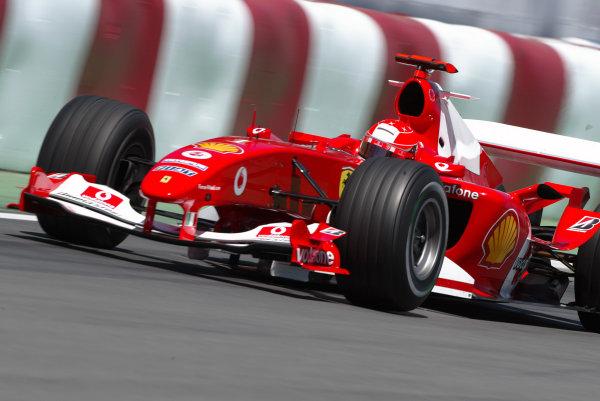 2004 Canadian Grand Prix - Friday Practice,2004 Canadian Grand Prix Montreal, Canada. 11th June 2004 Michael Schumacher, Ferrari F2004. Action. World Copyright: Steve Etherington/LAT Photographic ref: Digital Image Only