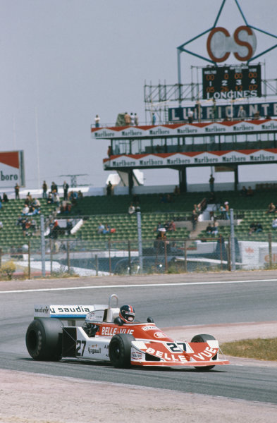 Jarama, Spain. 6-8th May 1977. Patrick Neve, March 761 Ford, 12th position. First race for Williams Grand Prix Engineering.  Ref: 77ESP34. World Copyright: LAT Photographic