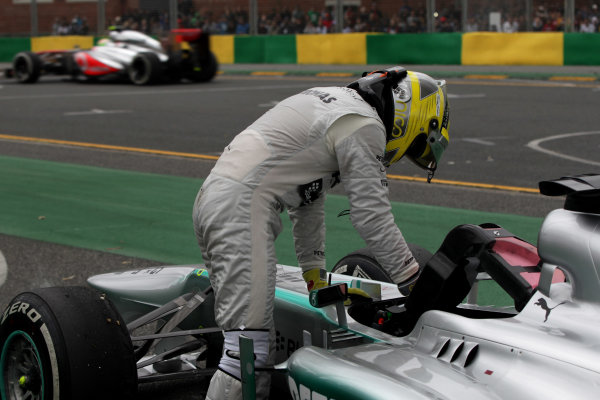 Albert Park, Melbourne, Australia Sunday 17th March 2013 Nico Rosberg, Mercedes W04, parks up with mechanical issues. World Copyright: Andy Hone/  ref: Digital Image HONY7332