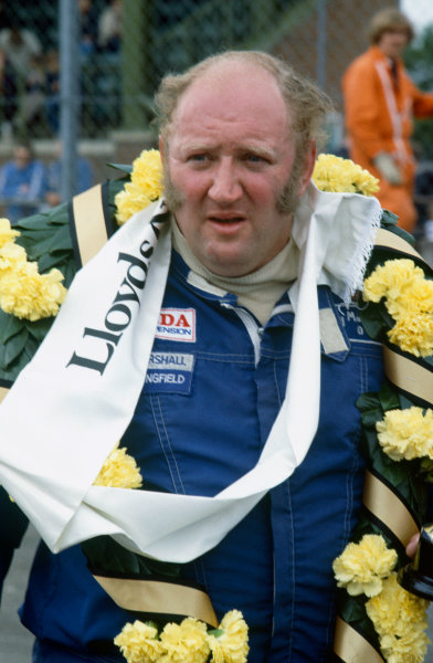 Silverstone, England. 27th June 1981. Rd 2.Gerry Marshall, Aston Martin DBR4, 1st position, portrait.World Copyright: LAT Photographic.