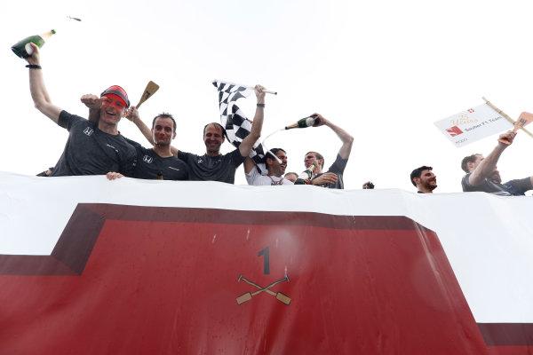 Circuit Gilles Villeneuve, Montreal, Canada. Sunday 11 June 2017. The victorious McLaren raft race team top the podium. World Copyright: Glenn Dunbar/LAT Images ref: Digital Image _X4I7526