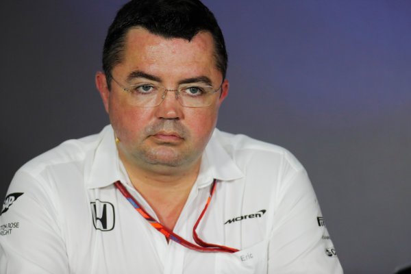 Baku City Circuit, Baku, Azerbaijan. Friday 23 June 2017. Eric Boullier, Racing Director, McLaren, in the Team Principals' Press Conference. World Copyright: Zak Mauger/LAT Images ref: Digital Image _54I0933