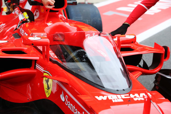 Silverstone, Northamptonshire, UK.  Friday 14 July 2017. Shield frontal protection system fitted to the car of Sebastian Vettel, Ferrari SF70H, for first practice. World Copyright: Charles Coates/LAT Images  ref: Digital Image AN7T4024
