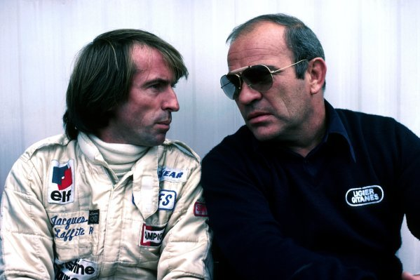 (L to R): Jacques Laffite (FRA) Ligier, who retired from the race on lap 6 with a blown engine, talks with Guy Ligier (FRA) Ligier Team Owner. Canadian Grand Prix, Rd 14, Montreal, Canada, 30 September 1979.