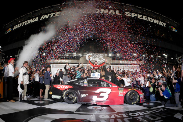 Monster Energy NASCAR Cup Series Daytona 500 Daytona International Speedway, Daytona Beach, FL USA Sunday 18 February 2018 Austin Dillon, Richard Childress Racing, Dow Chevrolet Camaro celebrates in victory lane World Copyright: Lesley Ann Miller LAT Images