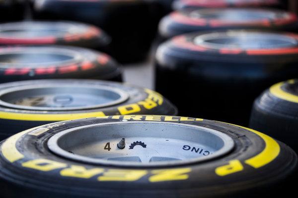 2017 FIA Formula 2 Round 11. Yas Marina Circuit, Abu Dhabi, United Arab Emirates. Thursday 23 November 2017. Pirelli tyres Photo: Sam Bloxham/FIA Formula 2. ref: Digital Image _J6I0918