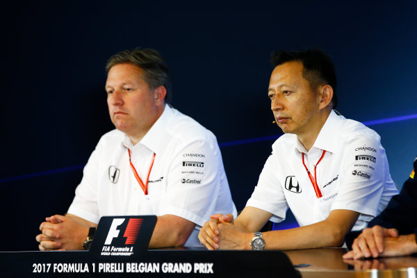 Spa Francorchamps, Belgium.  Friday 25 August 2017. Zak Brown, Executive Director, McLaren Technology Group, and Yusuke Hasegawa, Senior Managing Officer, Honda, in the Team Principals Press Conference. World Copyright: Andy Hone/LAT Images  ref: Digital Image _ONY3787
