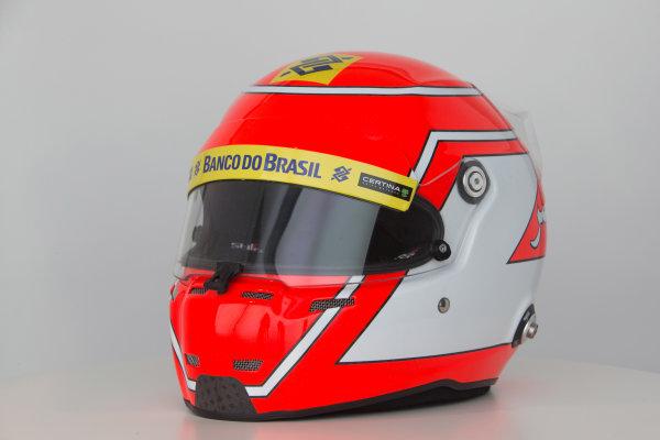 Hinwil, Switzerland. Thursday 29 January 2015. Helmet of Felipe Nasr, Sauber.  World Copyright: Sauber F1 Team (Copyright Free FOR EDITORIAL USE ONLY) ref: Digital Image 2015_SAUBER_HELMET_02