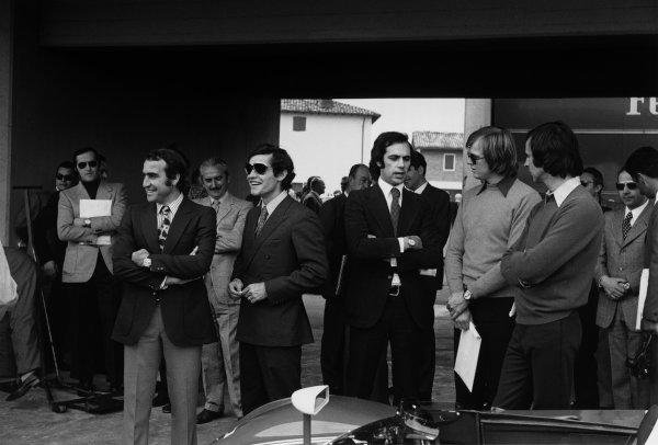 Fiorano Circuit, Maranello, Italy. L to R: Ferrari drivers Clay Regazzoni,Jacky Ickx, Ronnie Peterson and  Tim Schenken, pictured here at the opening of Fiorano, Ferrari's private test track, portrait. World Copyright: LAT Photographic. Ref:  4381 - 29A-30.