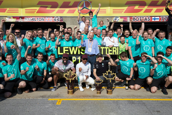 Circuit Gilles Villeneuve, Montreal, Canada. Sunday 11 June 2017. Lewis Hamilton, Mercedes AMG, 1st Position, Valtteri Bottas, Mercedes AMG, 2nd Position, and the Mercedes team celebrate victory. World Copyright: Steve Etherington/LAT Images ref: Digital Imagee SNE18651