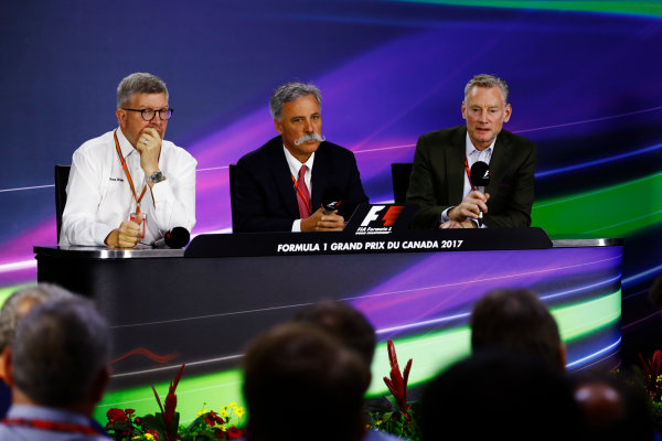 Circuit Gilles Villeneuve, Montreal, Canada. Friday 09 June 2017. Ross Brawn, Managing Director of Motorsports, FOM, Chase Carey, Chairman, Formula One and Sean Bratches, Managing Director of Commercial Operations, Formula One Group, in the Friday Press Conference. World Copyright: Steven Tee/LAT Images ref: Digital Image _R3I0095