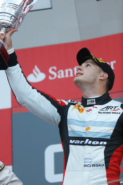 2013 GP3 Series. Round 4.  Nurburgring, Germany.  6th July 2013.  Saturday Race. Facu Regalia (ARG, ART Grand Prix) celebrates his victory on the podium.  World Copyright: Andrew Ferraro/GP2 Series Media Service. Ref: _79P5781