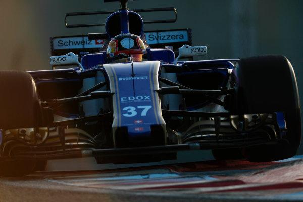 Yas Marina Circuit, Abu Dhabi, United Arab Emirates. Wednesday 29 November 2017. Charles Leclerc, Sauber C36 Ferrari.  World Copyright: Zak Mauger/LAT Images  ref: Digital Image _56I6694
