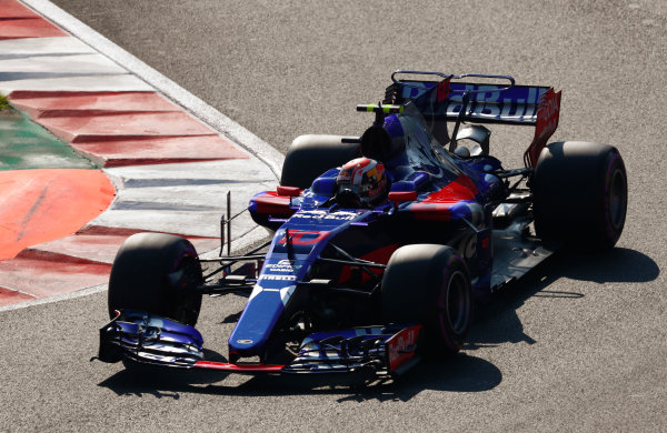 Autodromo Hermanos Rodriguez, Mexico City, Mexico. Saturday 28 October 2017. Pierre Gasly, Toro Rosso STR12 Renault.  World Copyright: Sam Bloxham/LAT Images  ref: Digital Image _W6I9755