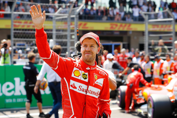 Autodromo Hermanos Rodriguez, Mexico City, Mexico. Saturday 28 October 2017. Sebastian Vettel, Ferrari, celebrates pole position. World Copyright: Steven Tee/LAT Images  ref: Digital Image _R3I5384