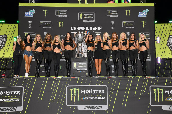 Monster Energy NASCAR Cup Series Ford EcoBoost 400 Homestead-Miami Speedway, Homestead, FL USA Sunday 19 November 2017 Monster Energy Girls pose with the Championship Trophy World Copyright: Rusty Jarrett LAT Images