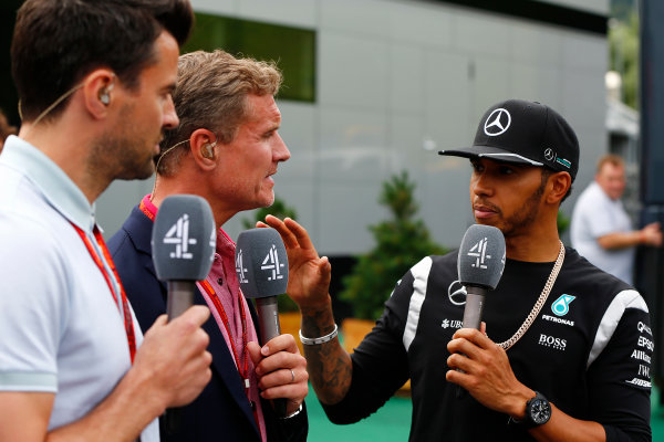 Red Bull Ring, Spielberg, Austria. Sunday 3 July 2016. Steve Jones, Presenter, Channel 4 F1, and David Coulthard, TV Commentator, Channel 4 F1, interview Lewis Hamilton, Mercedes AMG. World Copyright: Andrew Hone/LAT Photographic ref: Digital Image _ONY5947