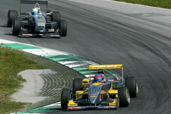 Timo Glock (GER) OPC Team KMS Dallara Opel in front of Bruno Spengler (CAN) ASM F3 Dallara Mercedes.