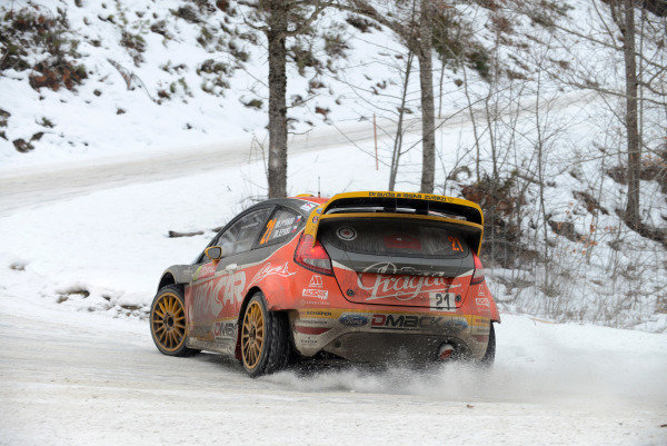 Martin Prokop (CZE) and Michal Ernst (CZE), Ford Fiesta RS WRC on stage 13. FIA World Rally Championship, Rd1, Rally Monte- Carlo, Day Three, Monte-Carlo, Monaco, 18 January 2013.