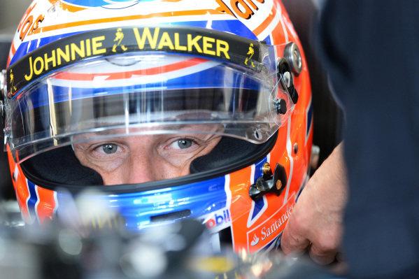 Jenson Button (GBR) McLaren MP4-28. Formula One World Championship, Rd8, British Grand Prix, Practice, Silverstone, England, Friday 28 June 2013.