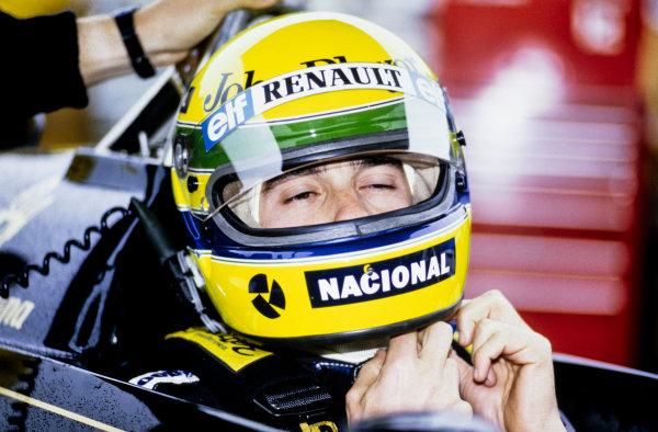 1986 Canadian Grand Prix. Montreal, Quebec, Canada.13th - 15th June 1986. Ayrton Senna (Lotus 98T-Renault), 5th position, portrait.  World Copyright: LAT Photographic.  Ref:  86CAN_Senna