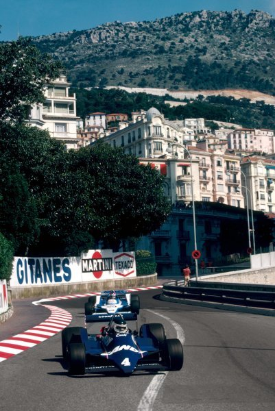 Jean-Pierre Jarier (FRA) Tyrrell 009, who retired from the race on lap 35 with a broken rear upright, leads fifth placed Patrick Depailler (FRA) Ligier JS11Monaco Grand Prix, Rd 7, Monte Carlo, Monaco, 27 May 1979.BEST IMAGE