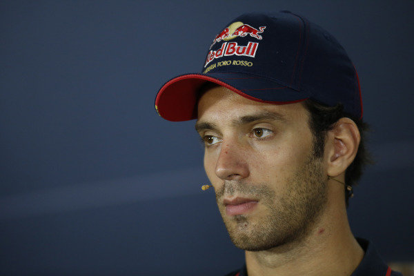 Marina Bay Circuit, Singapore. Thursday 18 September 2014. Jean-Eric Vergne, Toro Rosso, in the Drivers Press Conference. World Copyright: Alastair Staley/LAT Photographic. ref: Digital Image _79P6402