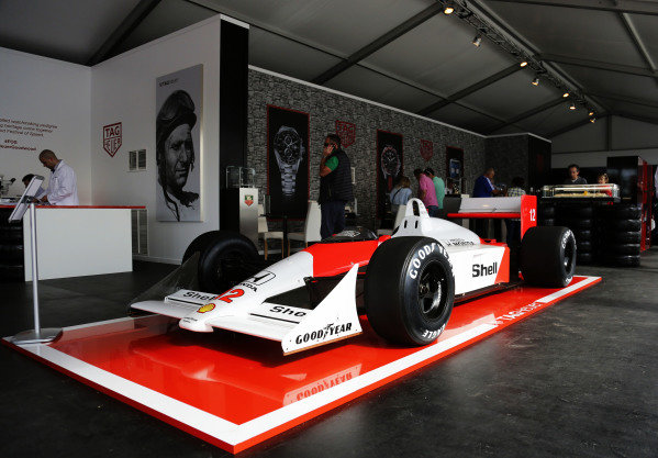 2015 Goodwood Festival of Speed.  Goodwood Estate, West Sussex, England. 25th - 28th June 2015.  McLaren MP4/4 on display on the Tag Heuer stand.  Ref: KW5_3535a. World copyright: Kevin Wood/LAT Photographic