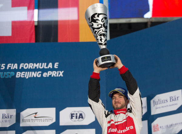 FIA Formula E Championship 2015/16. Beijing ePrix, Beijing, China. Race Nick Heidfeld, MAHINDRA RACING FORMULA E TEAM  races to the podium Beijing, China, Asia. Saturday 24 October 2015 Photo:  / LAT / FE ref: Digital Image _L2_4332