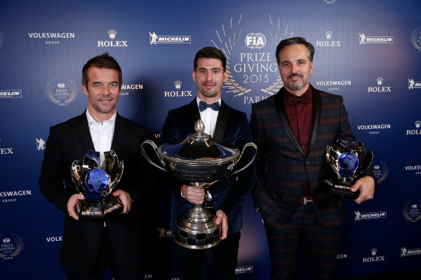 2015 FIA Prize Giving Paris, France Friday 4th December 2015 Sebastien Loeb with Yvan Muller and Jose Maria Lopez, portrait  Photo: Copyright Free FOR EDITORIAL USE ONLY. Mandatory Credit: FIA / Jean Michel Le Meur  / DPPI ref: _ML23431