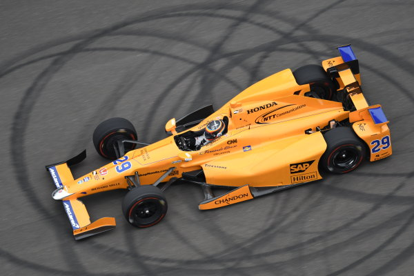 Verizon IndyCar Series Fernando Alonso Test for Indianapolis 500 Indianapolis Motor Speedway, Indianapolis, IN USA Wednesday 3 May 2017 Fernando Alonso turns his first career laps on an oval in preparation for his Indianapolis 500 debut. World Copyright: Walt Kuhn LAT Images