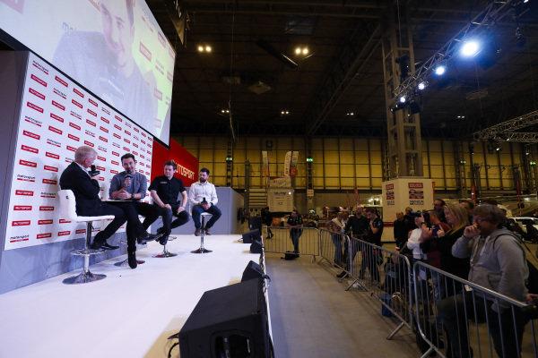 Alan Hyde talks to Tom Ingram, Dan Rowbottom and Ollie Jackson on the Autosport Stage.