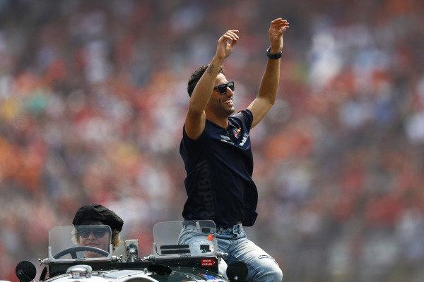 Daniel Ricciardo, Red Bull Racing, on the drivers' parade.