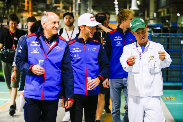 Pierre Gasly, Scuderia Toro Rosso, Brendon Hartley, Scuderia Toro Rosso, and Franz Tost, Scuderia Toro Rosso Team Principal, visit a Honda production factory and meet the staff as part of a PR event
