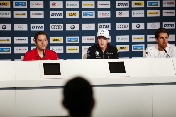 (Left to right) Robin Frijns, Audi Sport Team Abt Sportsline, Joel Eriksson, BMW Team RBM and Daniel Juncadella, Mercedes-AMG Team HWA.