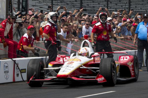 Josef Newgarden, Team Penske Chevrolet, during pit stop competition