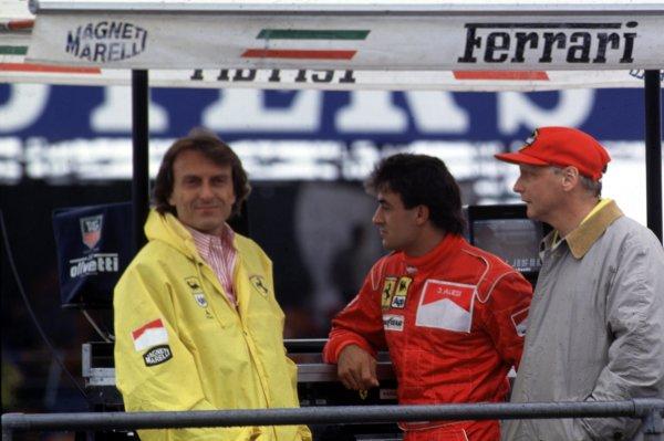 Formula 1 World Championship.Luca di Montezemolo, Jean Alesi and Niki Lauda (left to right).World - LAT Photographic